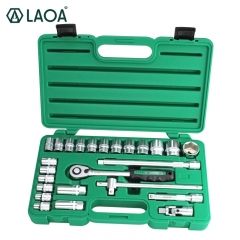 LAOA Socket Wrenches Set Ratchet Wrench Tools Kit Vehicle Repair Automobile Maintenance Box Made in Taiwan